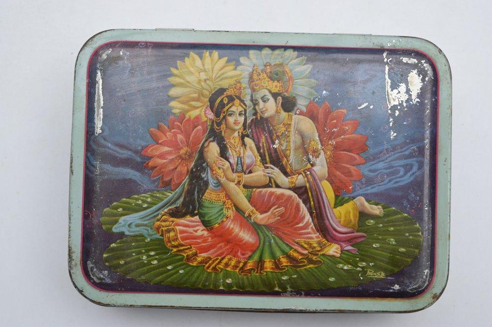 Old Sweets Tin Box, Rare Collectible Litho Printed Tin Boxes India #1449