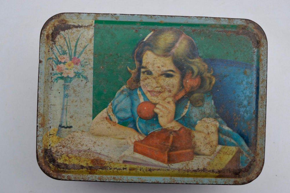 Old Sweets Tin Box, Rare Collectible Litho Printed Tin Boxes India #1474