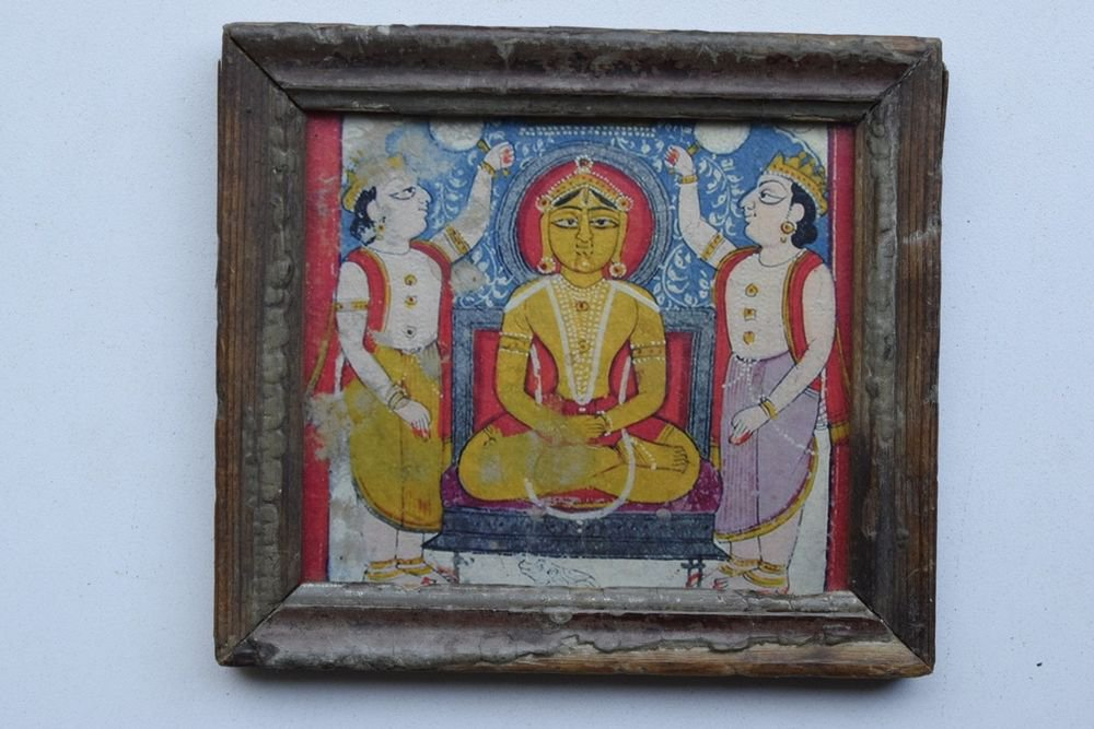 Jain God Collectible Rare Old Religious Print in Old Wooden Frame India #3267