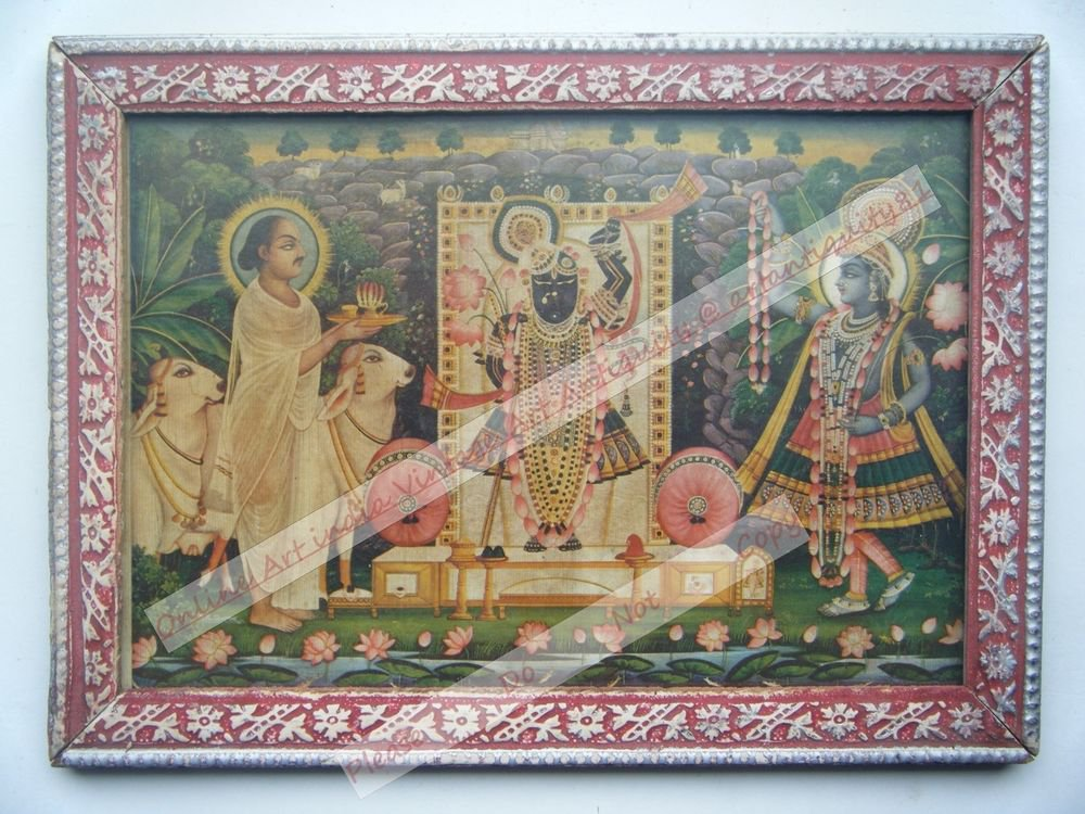 Shrinathji Krishna Avatar Home Worship Old Print in Old Wooden Frame India #2553