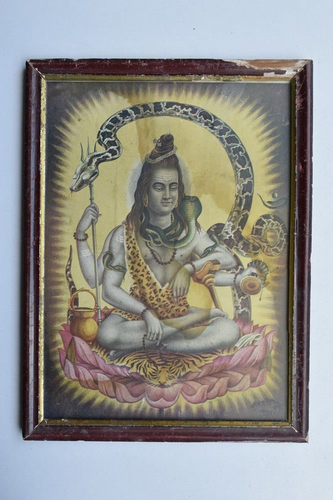 God Shiva Collectible Rare Beautiful Old Print in Old Wooden Frame India #3240