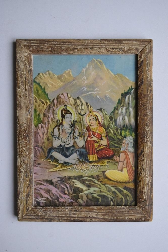Hindu God Shiva Parvati Collectible Old Religious Print in Old Wooden Frame#3159