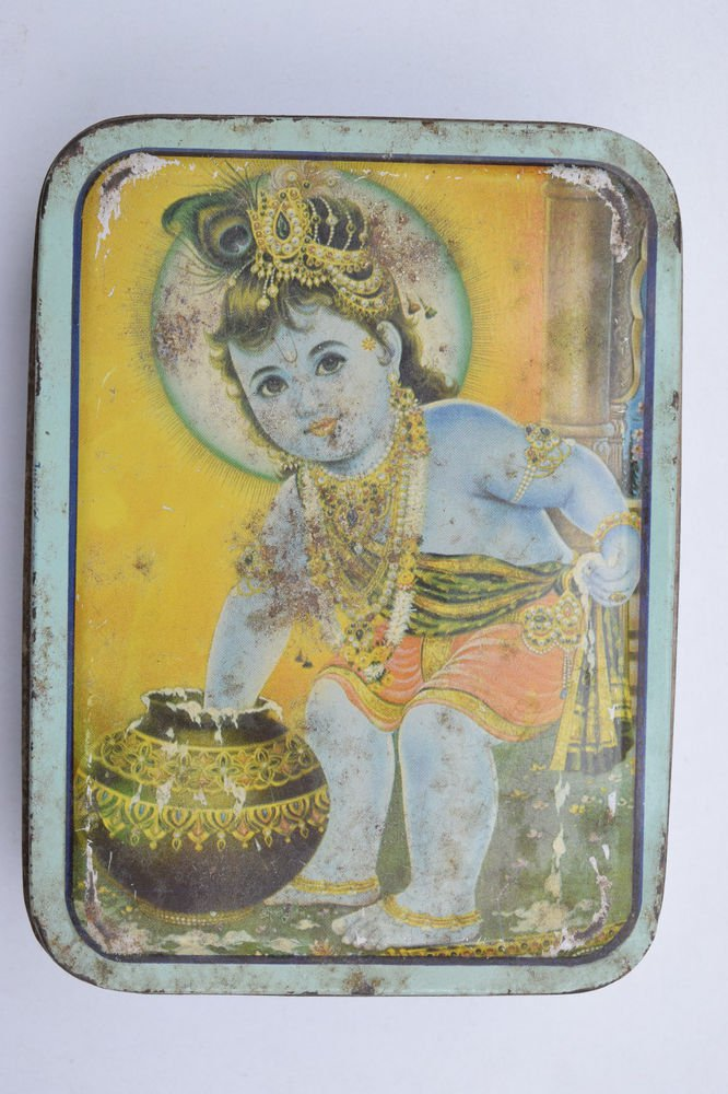 Old Sweets Tin Box, Rare Collectible Litho Printed Tin Boxes India #1452