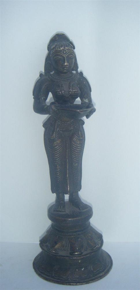 BRASS LAKSHMI STATUE, Temple Oil Lamp Rare Antique Indian Ritual Figure #983