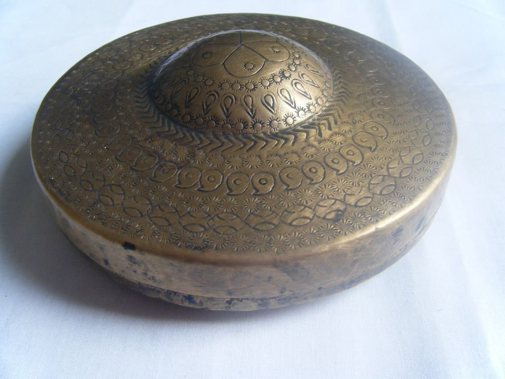 GATTAJI Antique Brass Box with INDIAN Miniature Painting Hindu God Worship #140