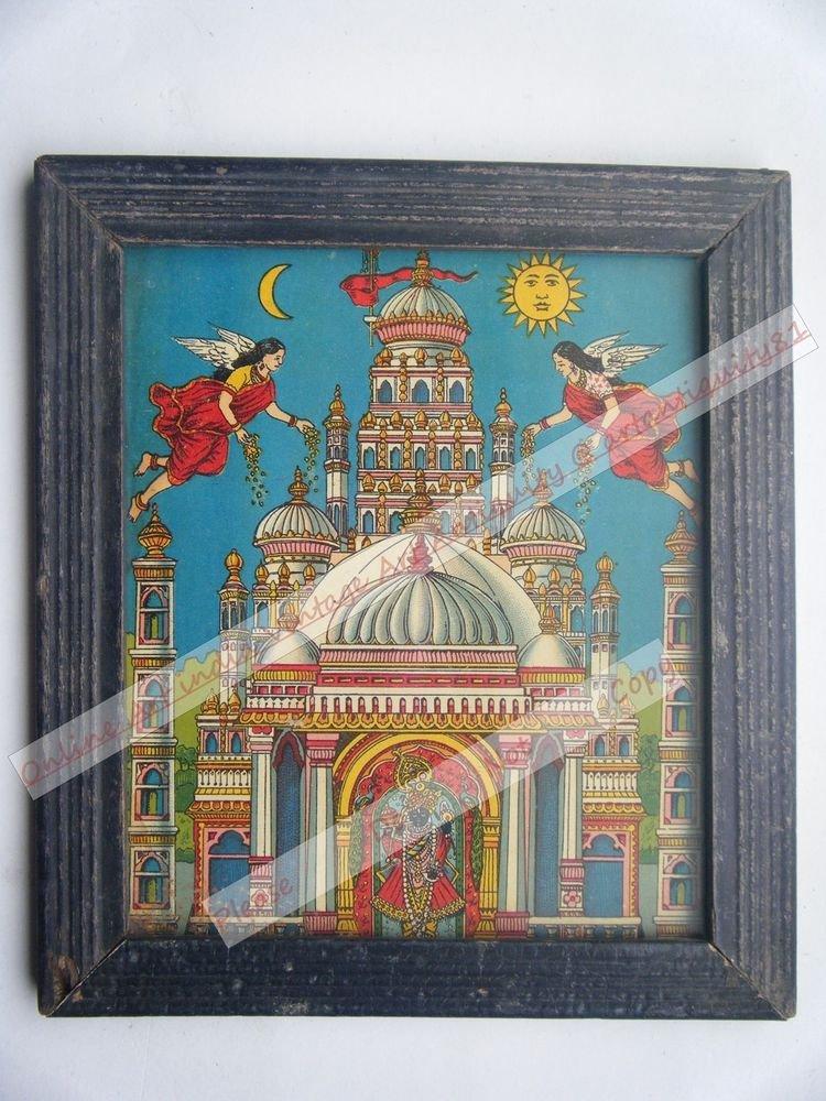 Shri Rannchor Krishna Avatar Hindu God Old Print in Old Wooden Frame India #2543