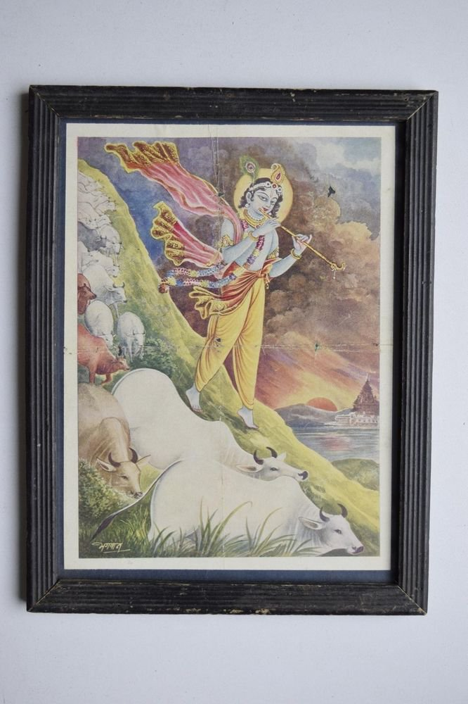 God Krishna Rare Collectible Old Religious Print in Old Wooden Frame #3171