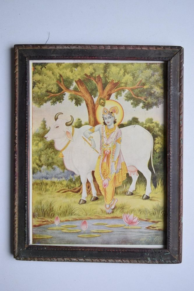 God Krishna Rare Collectible Old Religious Print in Old Wooden Frame #3170