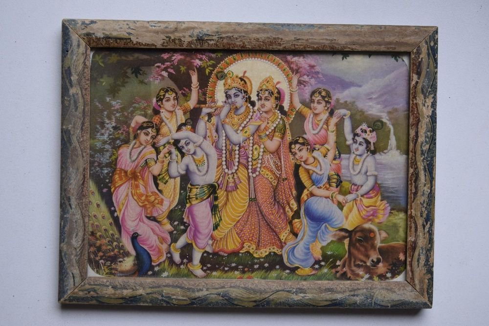 God Krishna & Radha Collectible Old Religious Print in Old Wooden Frame #3188