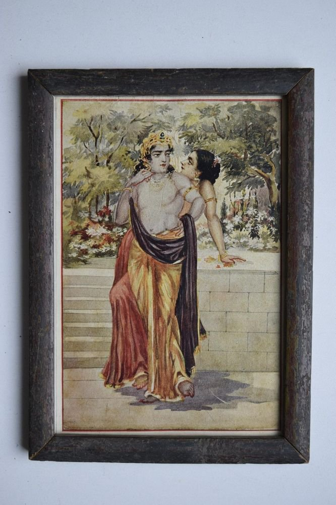 God Krishna & Radha Collectible Old Religious Print in Old Wooden Frame #3180