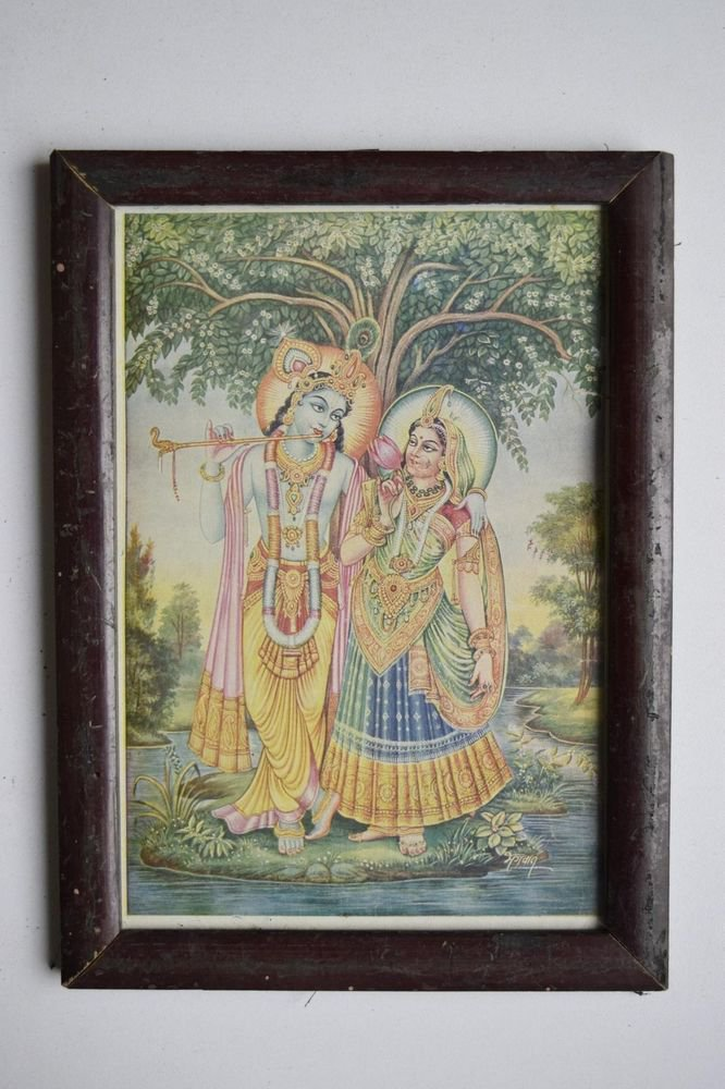 God Krishna & Radha Collectible Old Religious Print in Old Wooden Frame #3184