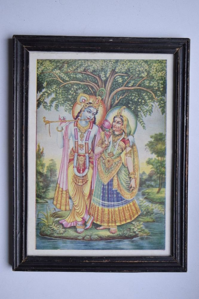 God Krishna & Radha Collectible Old Religious Print in Old Wooden Frame #3186