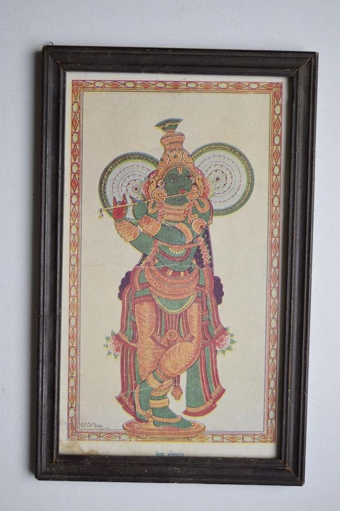 God Krishna Rare Collectible Old Religious Print in Old Wooden Frame #3175