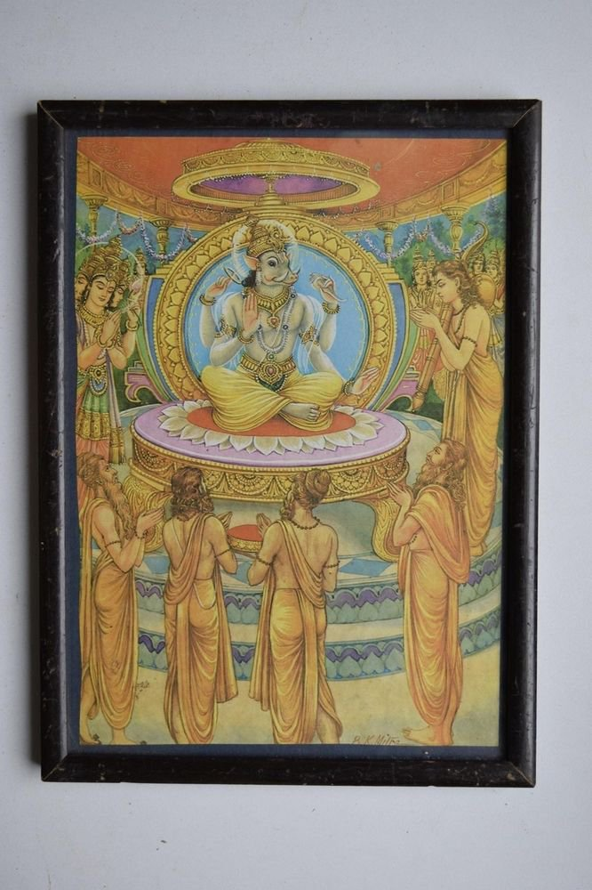God Vishnu Avatar Collectible Old Religious Print in Old Wooden Frame #3166
