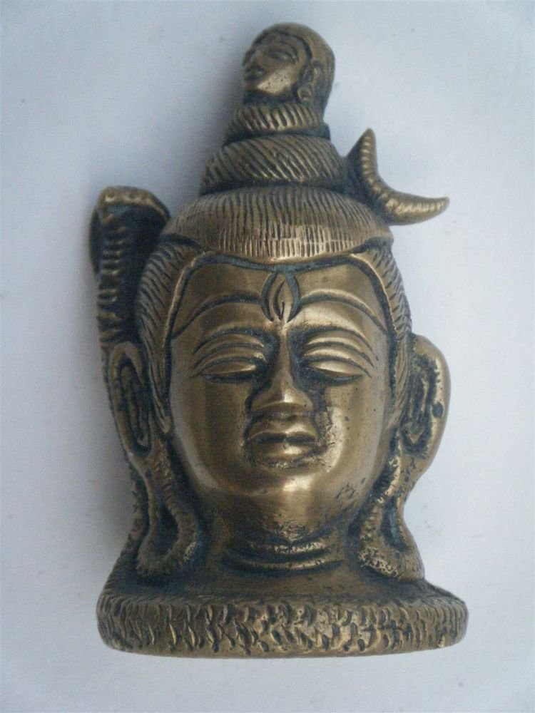 Brass Shiva Head Antique Statue Rare Collectible Artifact India Hindu God #877
