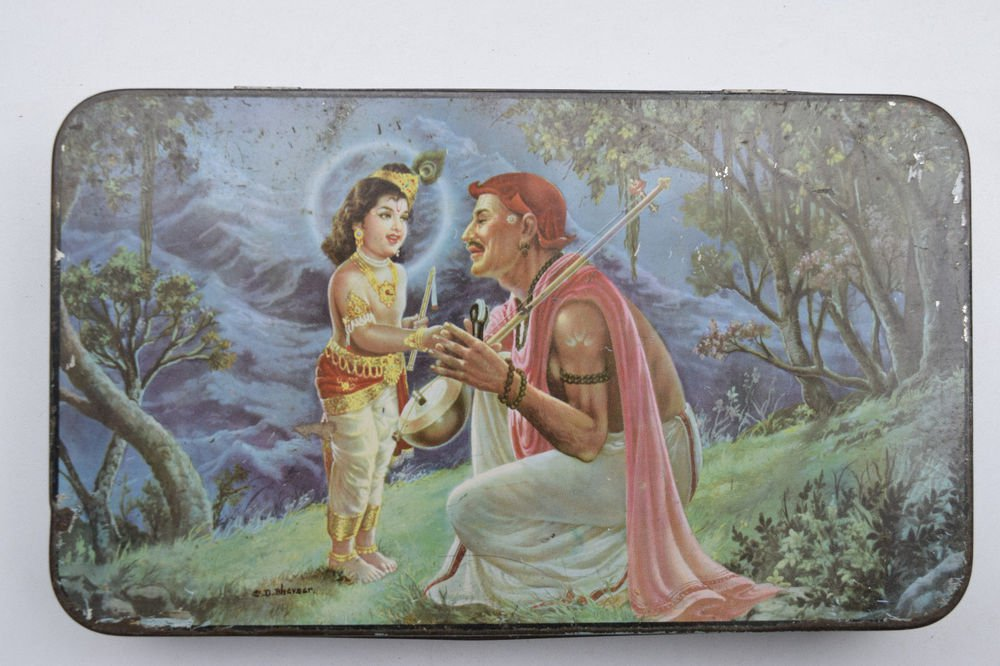 Old Sweets Tin Box, Rare Collectible Litho Printed Tin Boxes India #1450