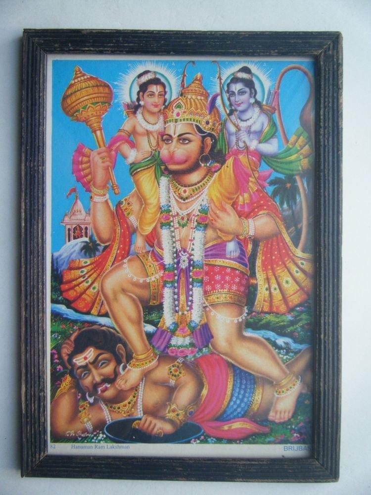 Lord Hanuman Rare Collectible Original Print in Old Wooden Frame India #2795