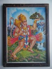 Lord Hanuman Rare Collectible Original Print in Old Wooden Frame India #2793