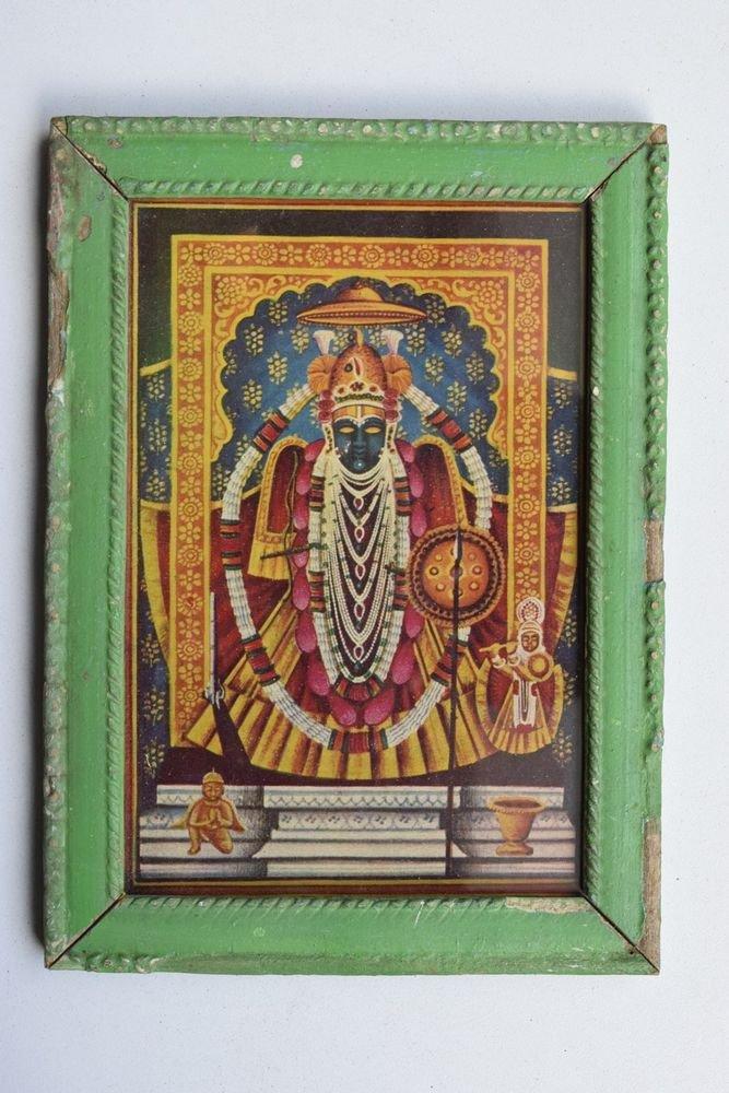 Shrinathji Krishna Avatar Rare God Old Print in Old Wooden Frame India #3227