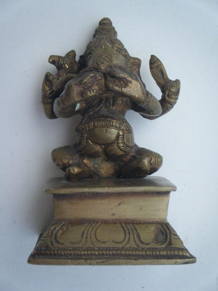 Antique Hindu God GANESHA as Musician Indian Statue Brass Elephant God Small#719