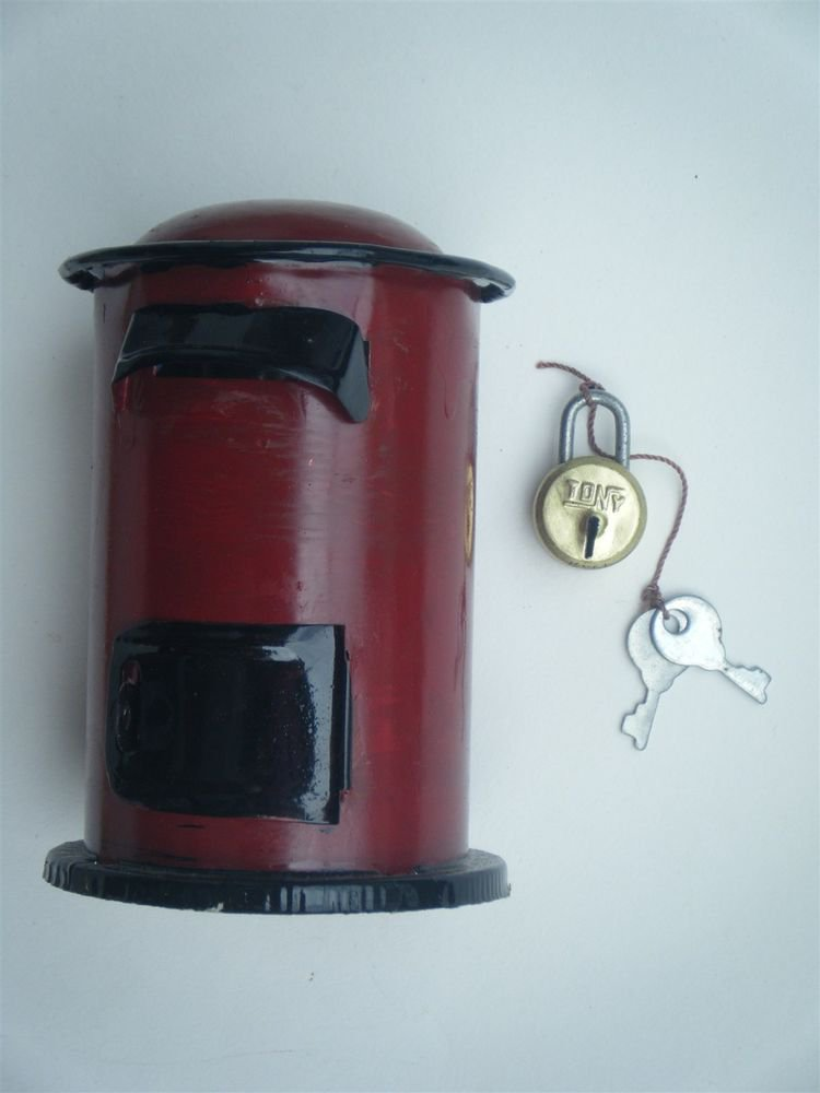 Coin Still Piggy Mailbox Indian Post Office Box Tin India with Lock Red #910