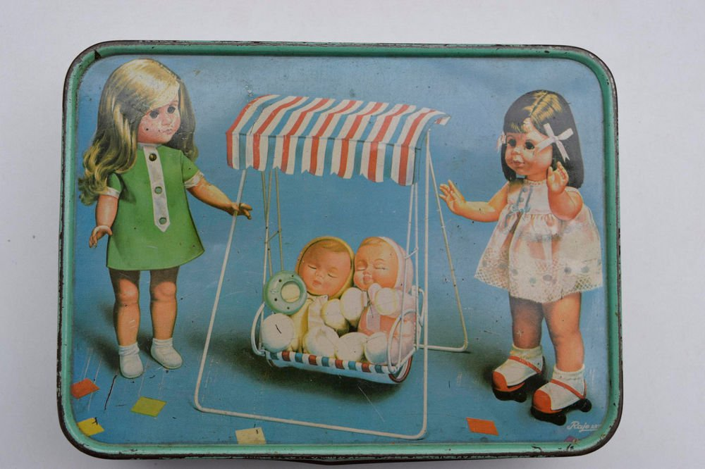 Old Sweets Tin Box, Rare Collectible Litho Printed Tin Boxes India #1473