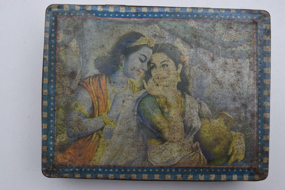 Old Sweets Tin Box, Rare Collectible Litho Printed Tin Boxes India #1447