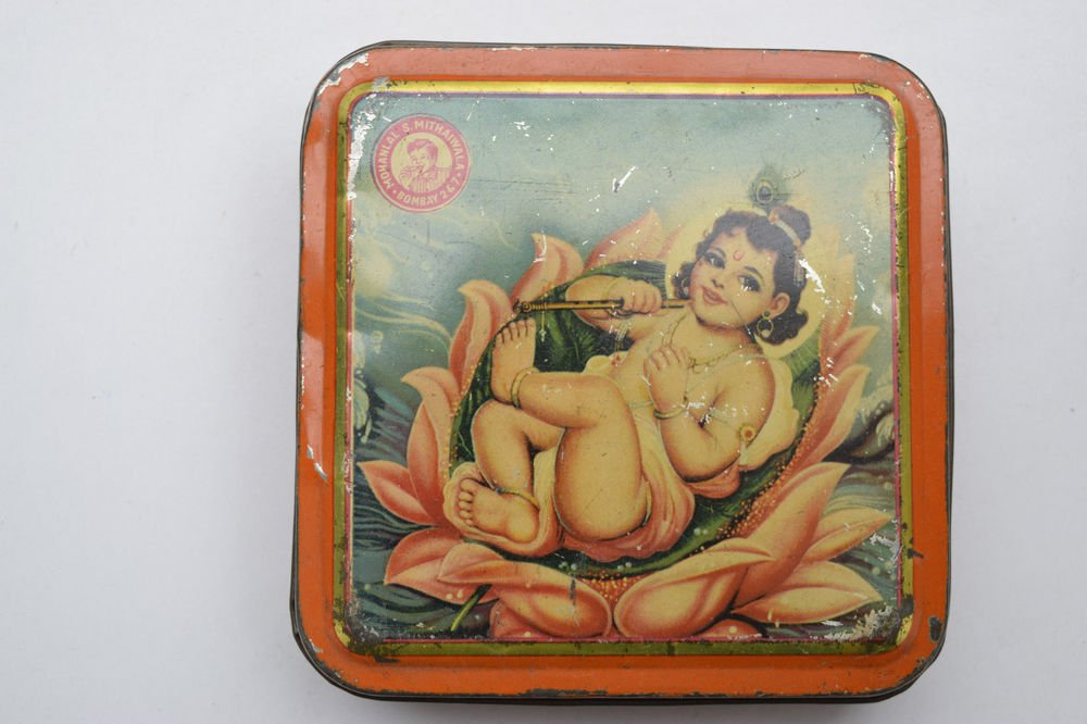 Old Sweets Tin Box, Rare Collectible Litho Printed Tin Boxes India #1454