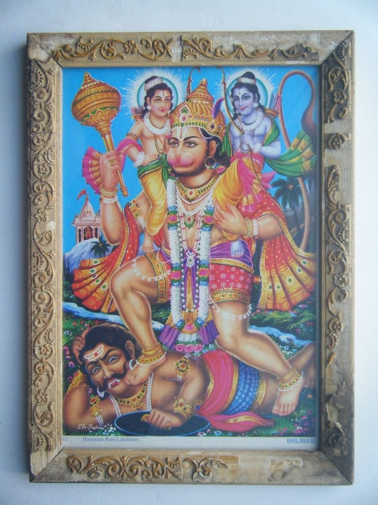 Lord Hanuman Rare Collectible Original Print in Old Wooden Frame India #2794