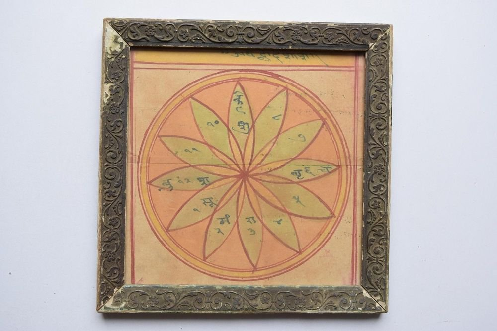Rare Cosmology Hand Coloured Original Painting in Old Wooden Frame India #3107