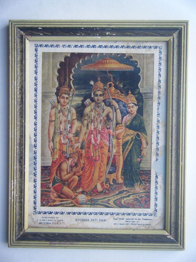 Rama Laxman Rare Collectible Original Print in Old Wooden Frame India #2789
