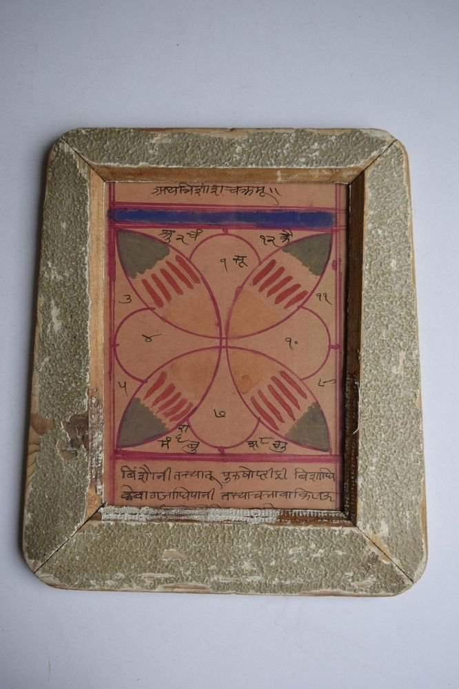 Rare Cosmology Hand Coloured Original Painting in Old Wooden Frame India #3076