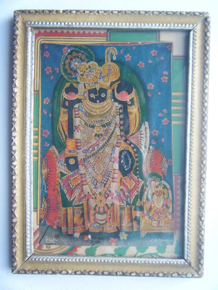 Hindu God Shrinathji Krishna Avatar Old Print in Old Wooden Frame India #2763