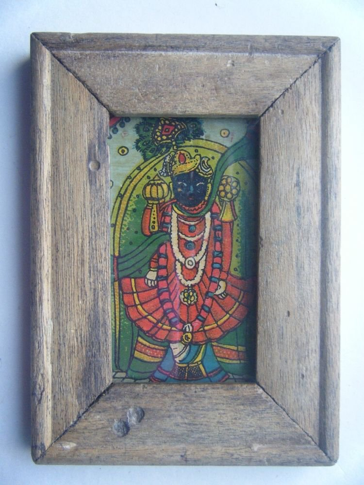 Hindu God Shrinathji Krishna Avatar Old Print in Old Wooden Frame India #2759