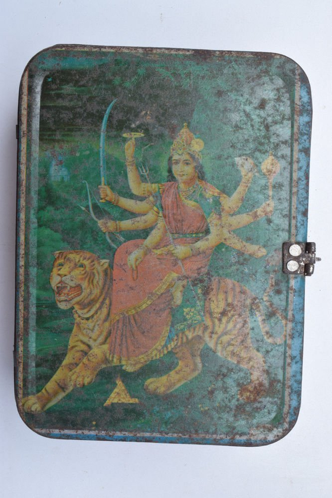 Old Sweets Tin Box, Rare Collectible Litho Printed Tin Boxes India #1368