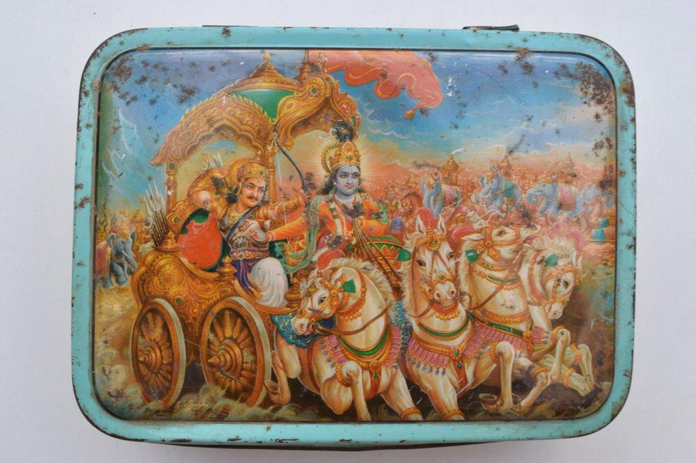 Old Sweets Tin Box, Rare Collectible Litho Printed Tin Boxes India #1354