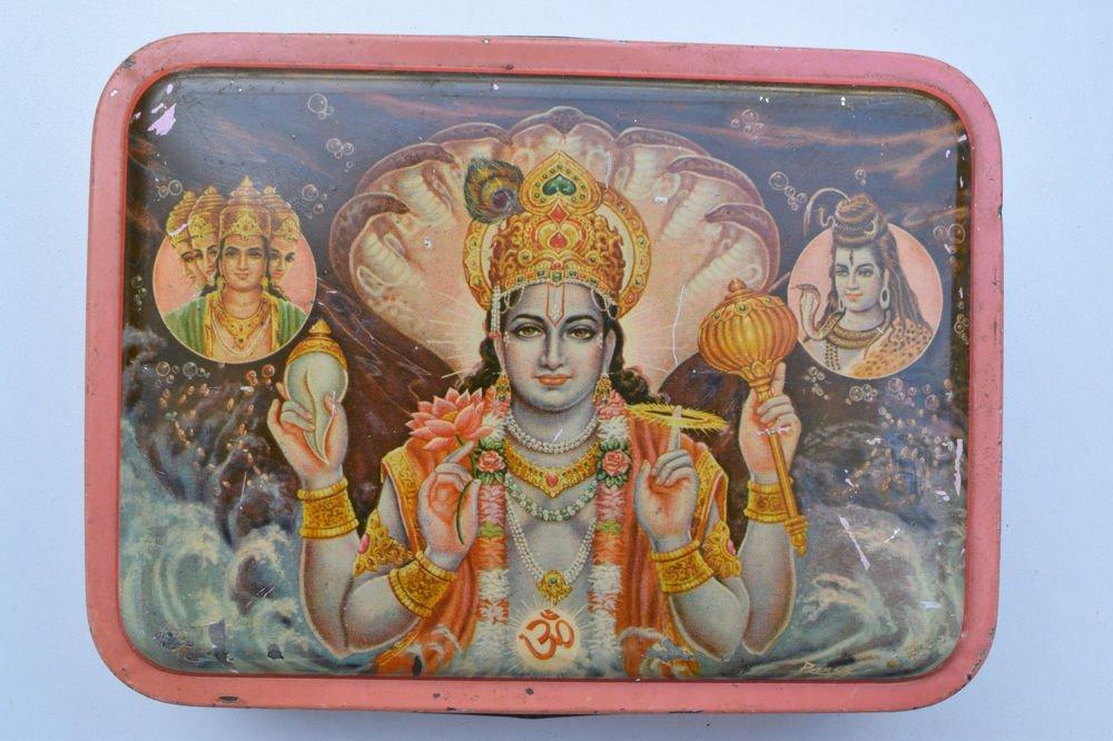 Old Sweets Tin Box, Rare Collectible Litho Printed Tin Boxes India #1362