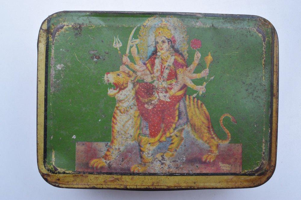 Old Sweets Tin Box, Rare Collectible Litho Printed Tin Boxes India #1369