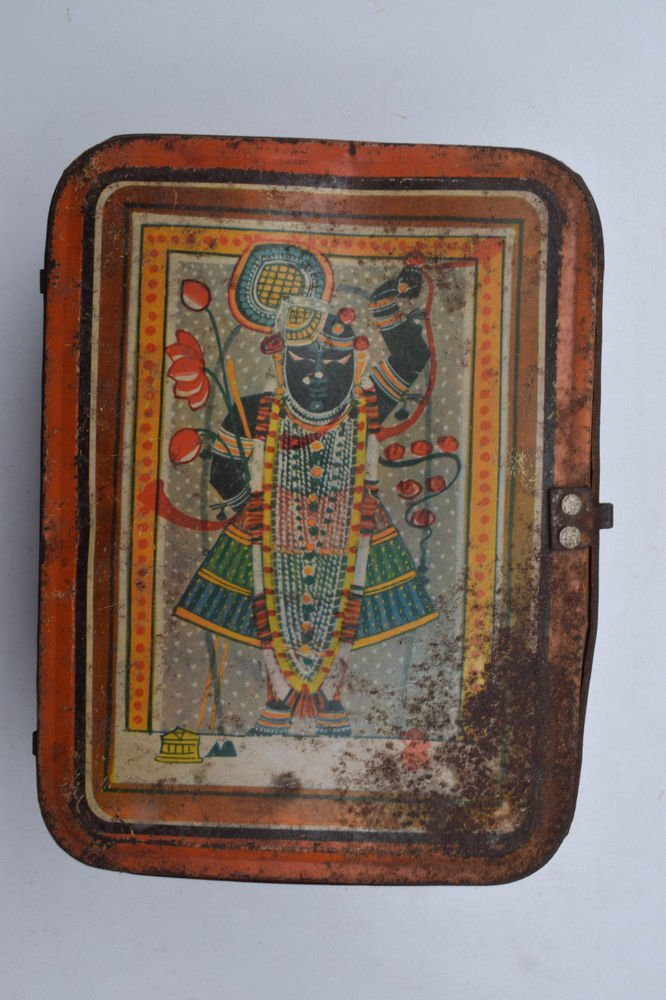 Old Sweets Tin Box, Rare Collectible Litho Printed Tin Boxes India #1405