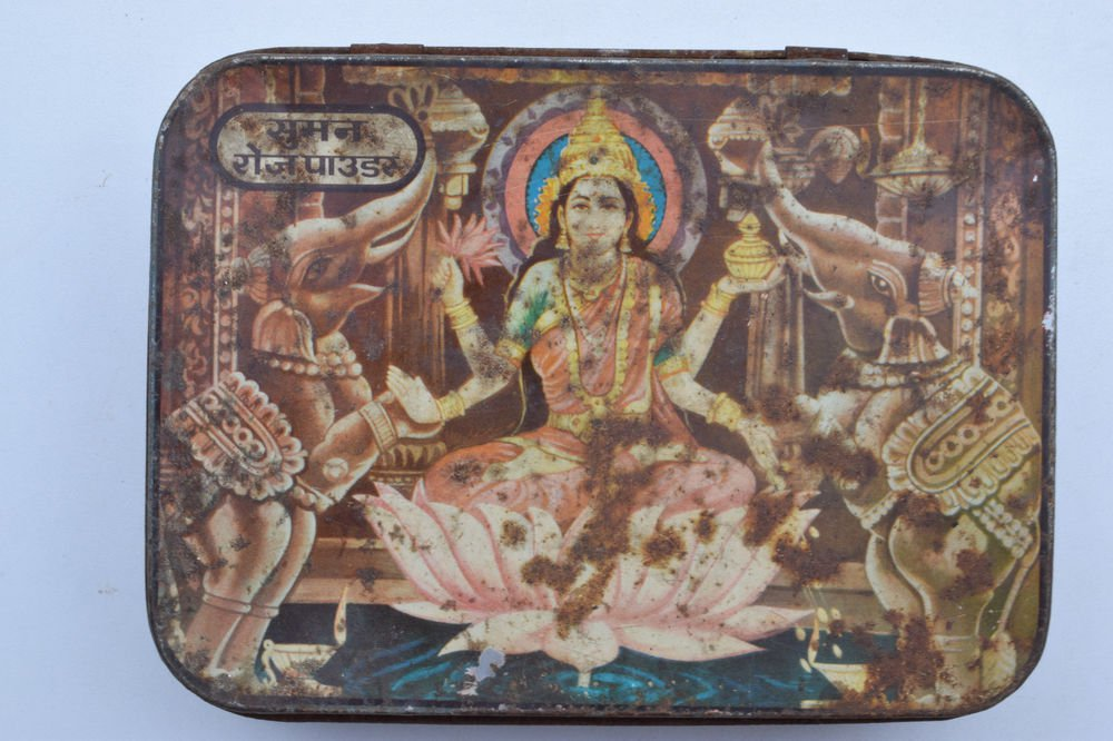 Old Sweets Tin Box, Rare Collectible Litho Printed Tin Boxes India #1372