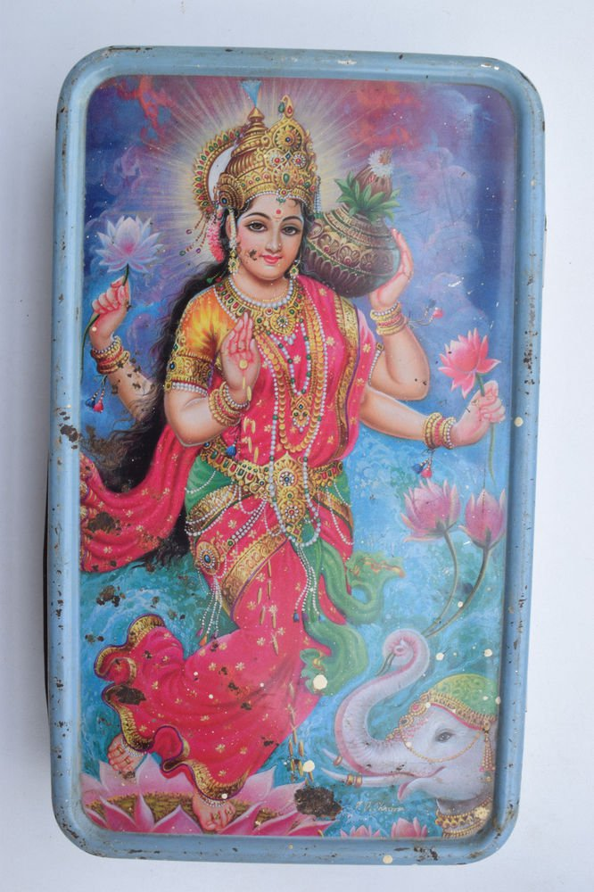 Old Sweets Tin Box, Rare Collectible Litho Printed Tin Boxes India #1374