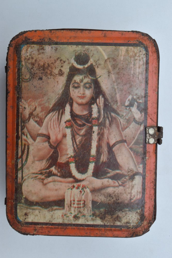 Old Sweets Tin Box, Rare Collectible Litho Printed Tin Boxes India #1379
