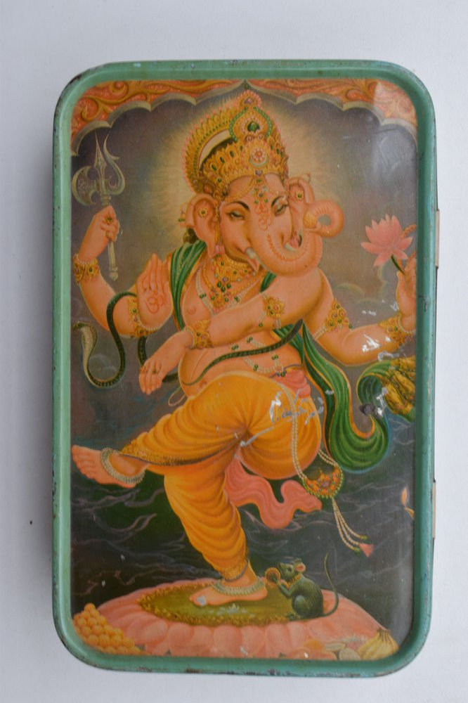Old Sweets Tin Box, Rare Collectible Litho Printed Tin Boxes India #1395