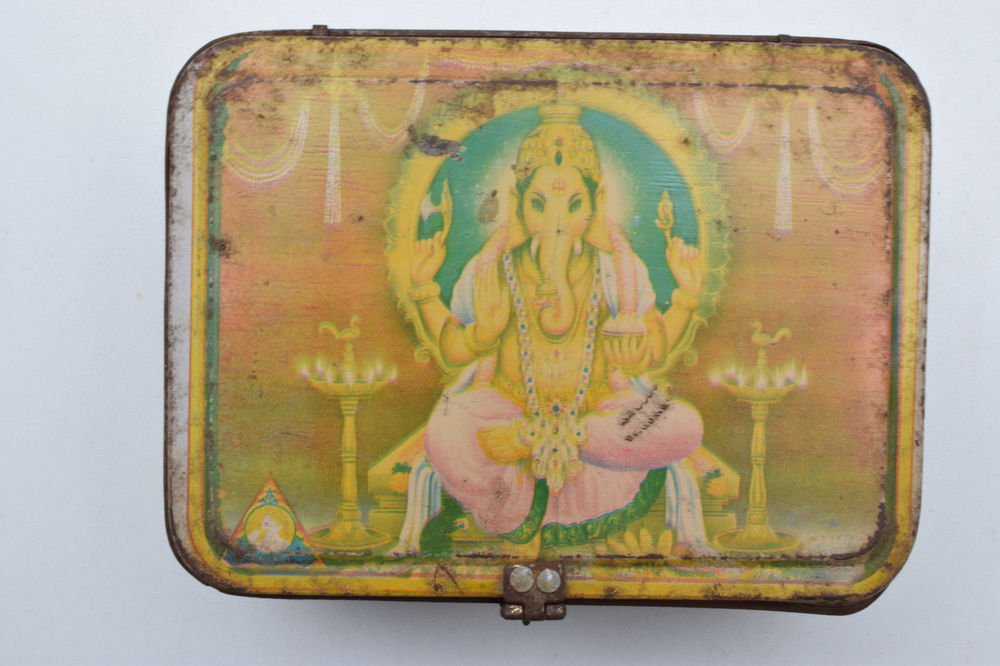 Old Sweets Tin Box, Rare Collectible Litho Printed Tin Boxes India #1397