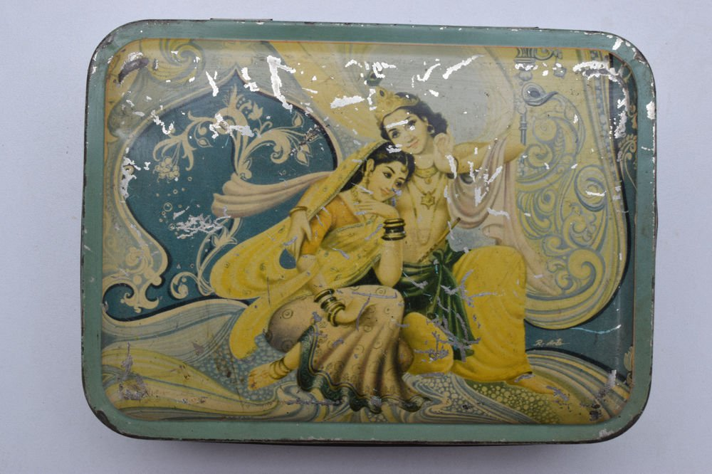 Old Sweets Tin Box, Rare Collectible Litho Printed Tin Boxes India #1413