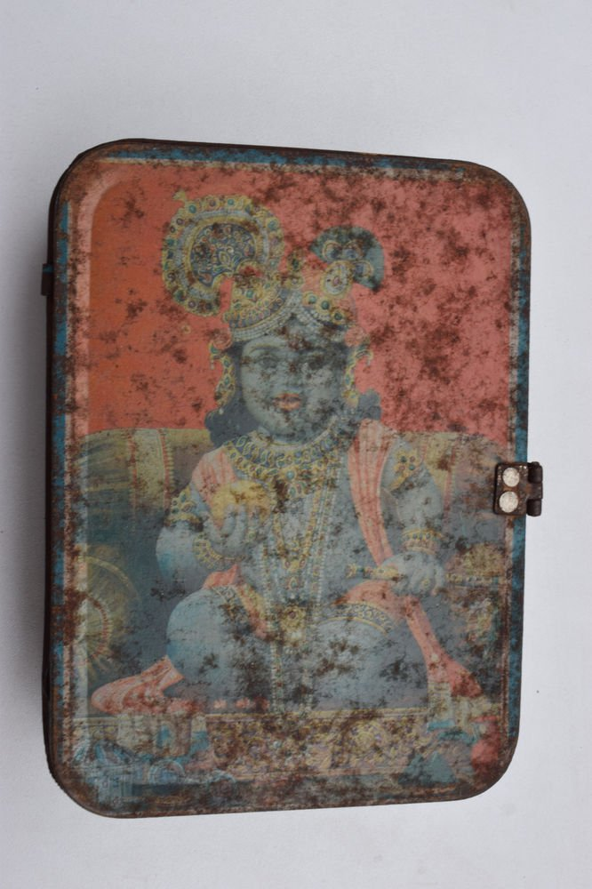 Old Sweets Tin Box, Rare Collectible Litho Printed Tin Boxes India #1419