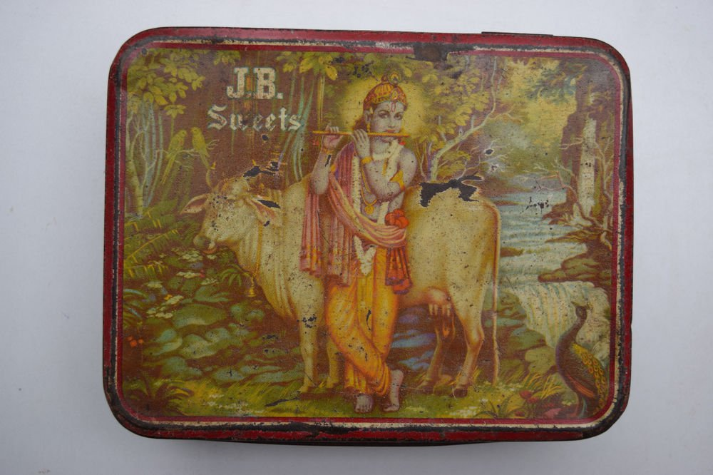 Old Sweets Tin Box, Rare Collectible Litho Printed Tin Boxes India #1425