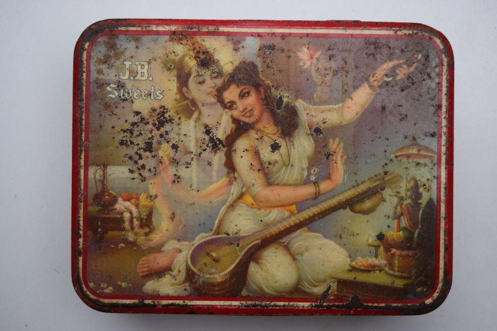 Old Sweets Tin Box, Rare Collectible Litho Printed Tin Boxes India #1426