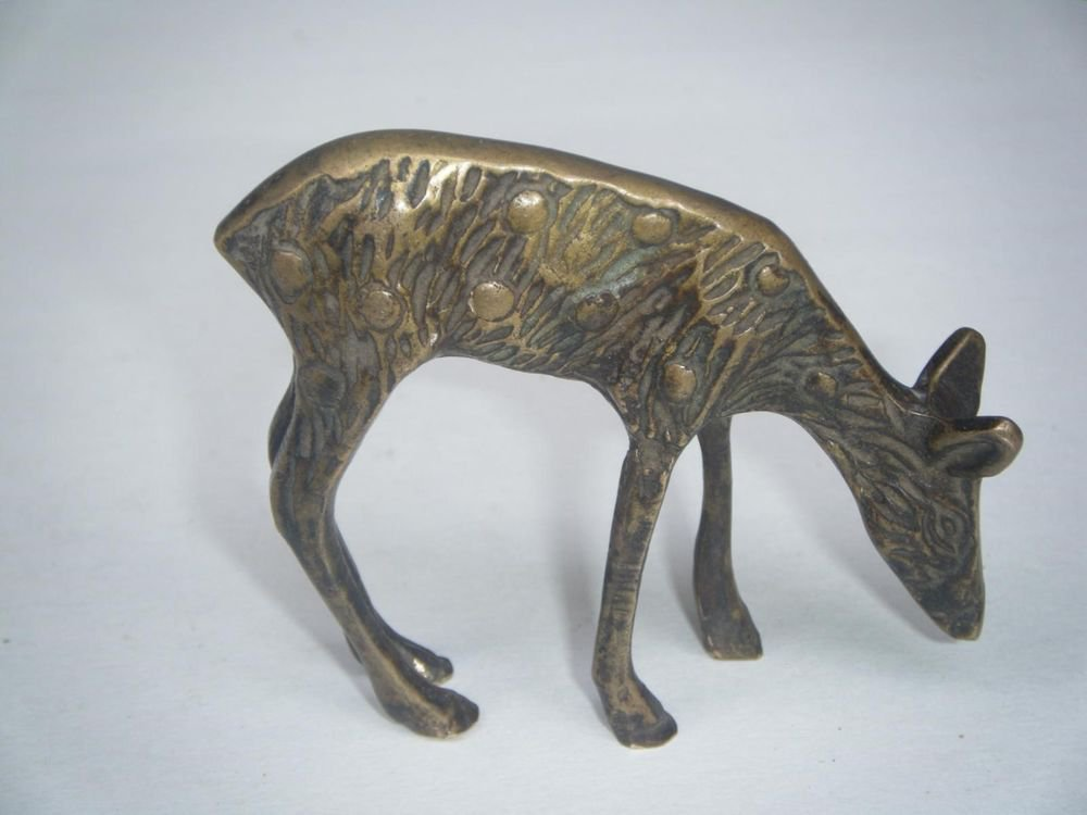 Deer Play Toy India Old Decorative Collectible Antique Home Brass Gift Small#589