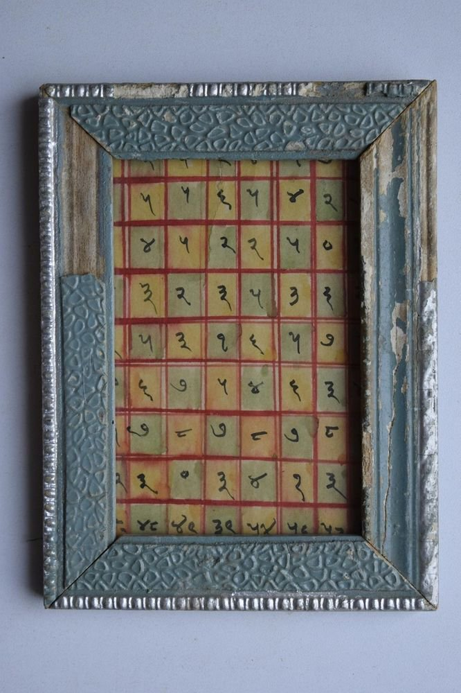 Rare Cosmology Hand Coloured Original Painting in Old Wooden Frame India #3073